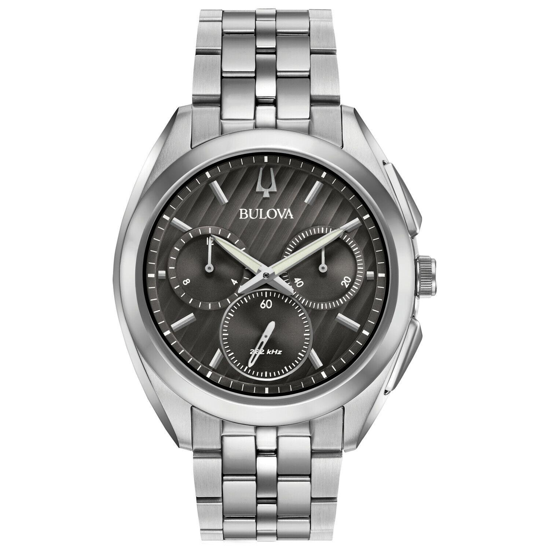 Bulova CURV Men's 96A186 Quartz Chronograph Silver-Tone Bracelet 43mm Watch