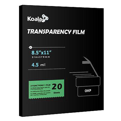 Koala Clear Transparency Ohp Film 20 Sheets Overhead Laser Inkjet Copier 8.5x11