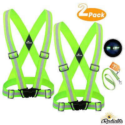 2 PACK Reflective Strap Safety Vest Running Gear for Running, walking, &Cycling