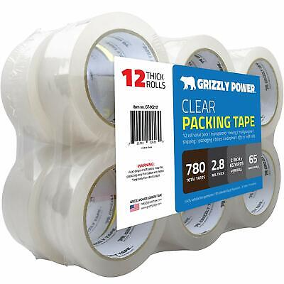 Grizzly Brand Clear Packing Tape Refill Rolls for Shipping, Moving, Packaging -