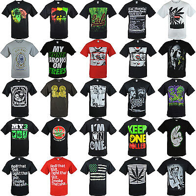 Mens Shirts Marijuana Weed Shirts 100  Cotton Aaa Short Sleeve Graphic Tee