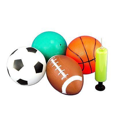 Set of 4 Sports Balls w Hand Pump 5