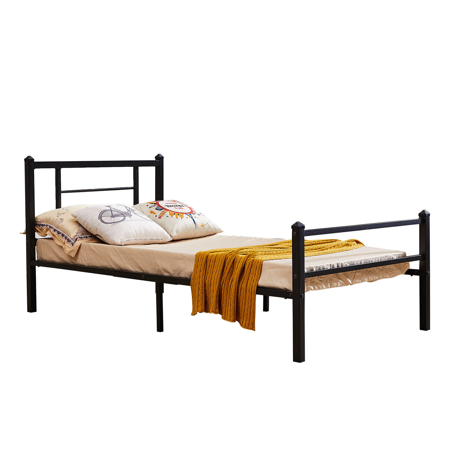 Metal Bed Frame with Headboard and Footboard Twin Size Solid