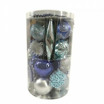 Christmas Ornament Shapes (New ! 90 Ct Assorted Shapes Shatterproof Christmas Ornament Set Med Blue)