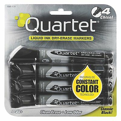 Quartet EnduraGlide Dry-Erase Markers, Chisel Tip, Black Ink, 4/Pack