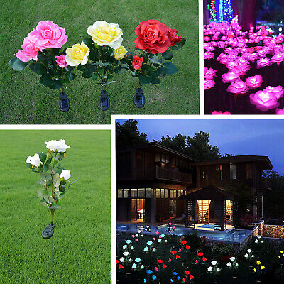 Outdoor LED Solar Rose Flower Stake Lights Garden Yard Lawn Walkway Decor -