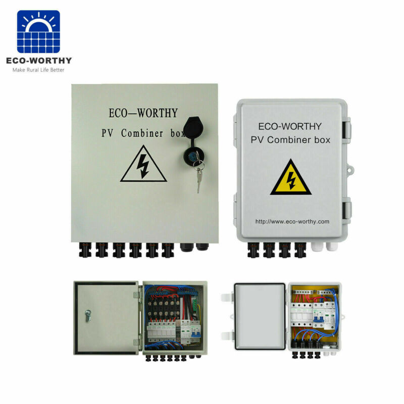 ECO PV Solar Combiner Box Junction Box 12A Circuit Breakers For Solar Panel Kit