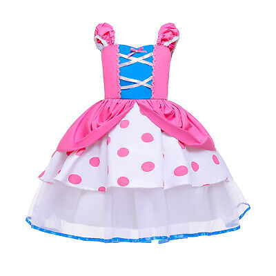 Baby Girls Toy Story Bo Peep Shepherdess Costume Cosplay Party Dress Gown