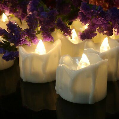 24 Flameless Votive Decor Candles LED Tea Light Battery Operated Flickering Lamp - Battery Operated Votives