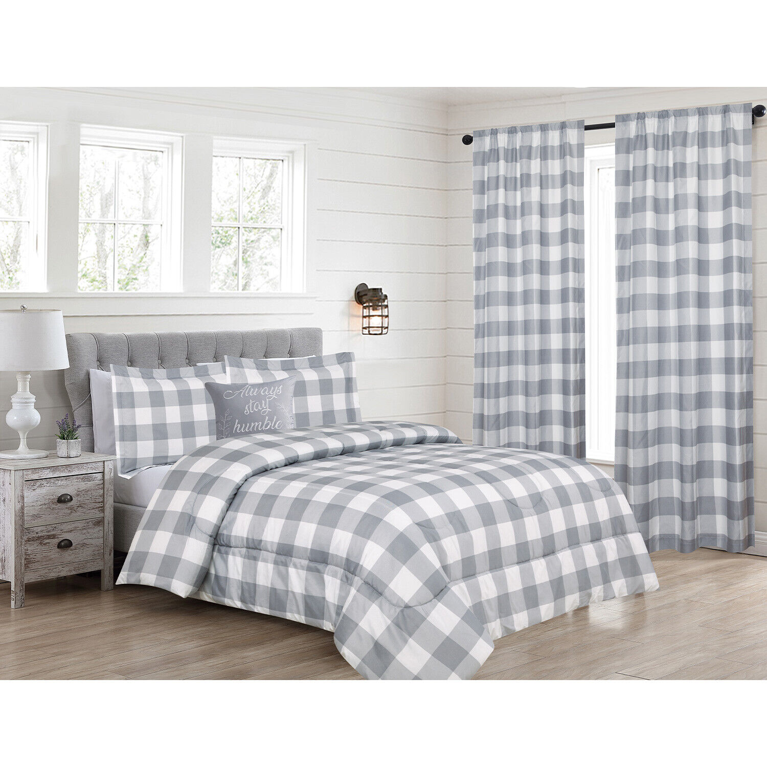 Twin, Queen or King Buffalo Plaid Comforter Bedding Set or Window Curtains, Grey Bedding