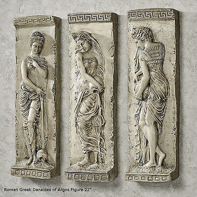 Roman Greek Danaides Argos Figure Sculptural Wall frieze plaque Fragment 3pc 22