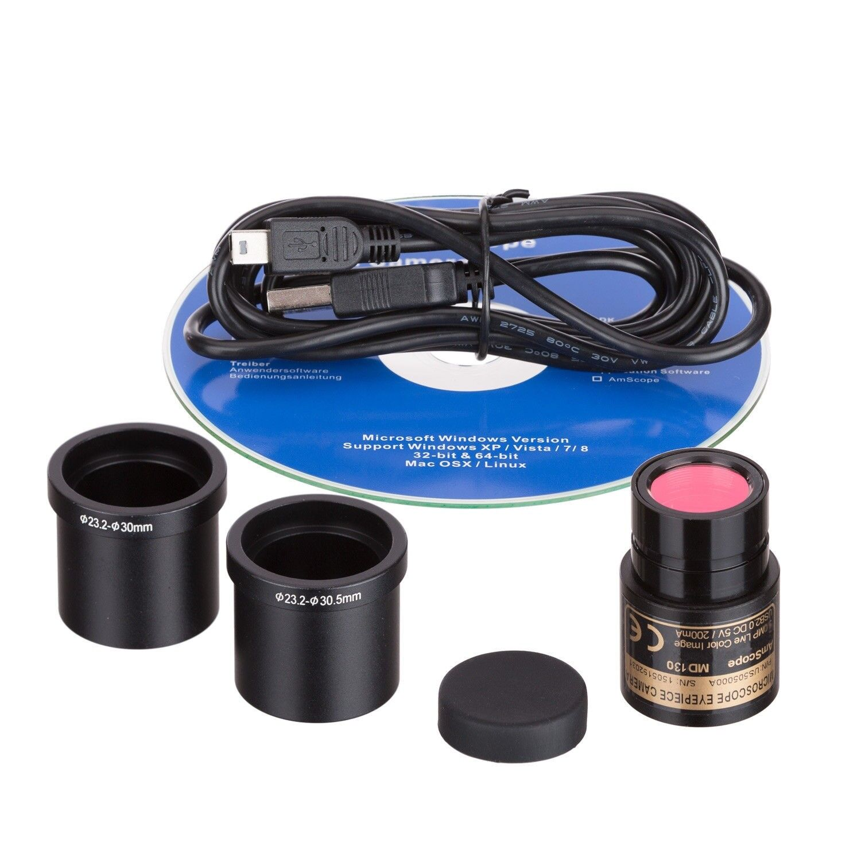 AmScope 40X-2500X LED Digital Monocular Compound Microscope w 3D Stage +1.3MP Ca