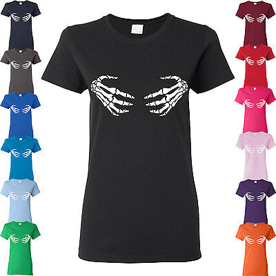SKELETON HANDS HOLDING YOUR BOOBS OR CHEST COSTUME FOR HALLOWEEN LADIES T-SHIRT