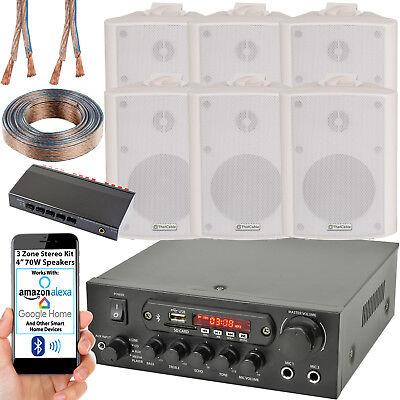 3 Zona Altavoz Bluetooth Kit – 6x 70W Blanco Montaje Pared –...