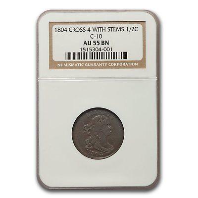 1804 Half Cent Crosslet 4 w/Stems AU-55 NGC (C-10, Brown) - SKU#166407