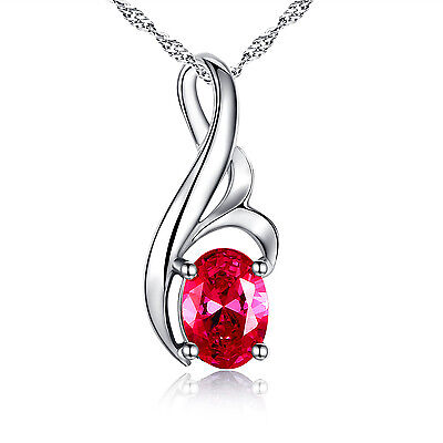 0.75 Ct Created Ruby Oval Cut Pendant Necklace 925 Sterling Silver w/ Chain