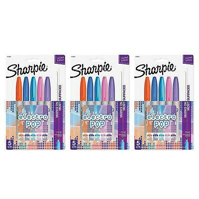 Sharpie Electro Pop Permanent Markers Fine Point Assorted Colors 15 Count Lot