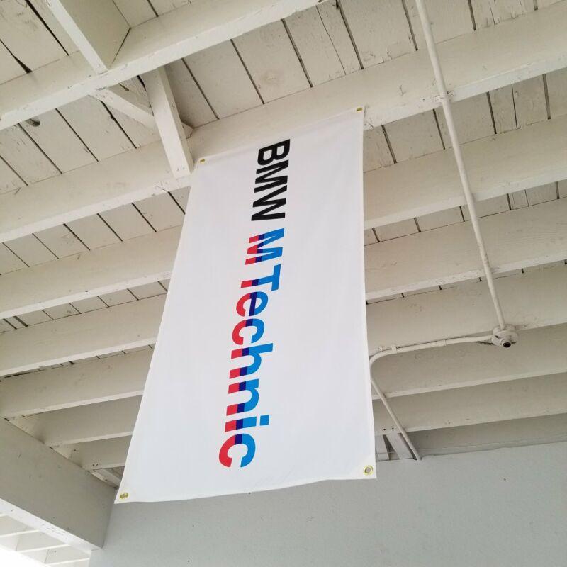 BMW M Technic White Flag Banner M3 M5 Alpina Hartge E30 E36 MTEK M535i E46 E21