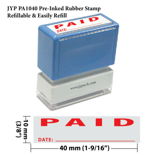 Paid and Date w.Line JYP PA1040 Pre-Inked Rubber Stamp Red Ink