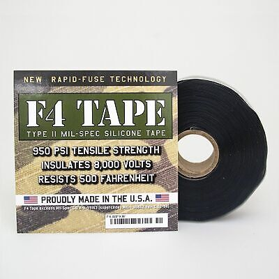 F4 Tape - Mil Spec Aviation Self Fusing Silicone Tape 2 Pack - Black 1 X 36