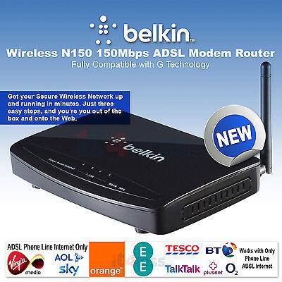 Belkin N Wireless ADSL Modem Router Sky BT TalkTalk WiFi 4-Port Ethernet F9J1004