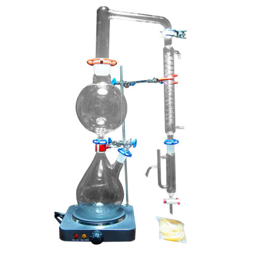 New 2000ml Lab Essential Oil Steam Distillation Apparatus w/Graham Condenser