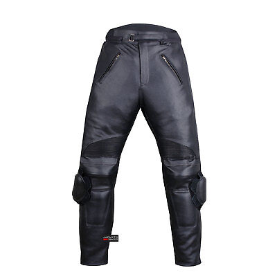 Black Leather Motorcycle Pants - Men's Racing Motorcycle Leather Black Pants w/ Sliders & 4PC CE Armor