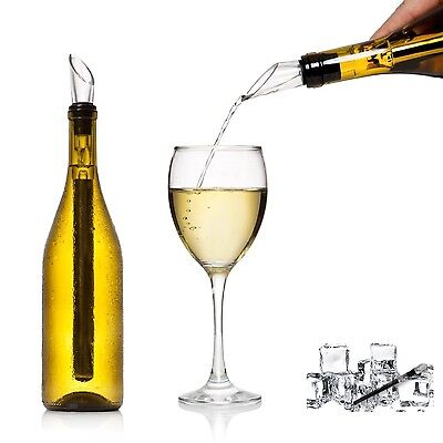 Wine Stainless Steel Chiller Chill Stick Ice Cold Pourer Spout Bottle Freeze Box