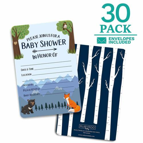 Baby Shower Woodland Invitations - 30 Cards and Envelopes for Baby Boy