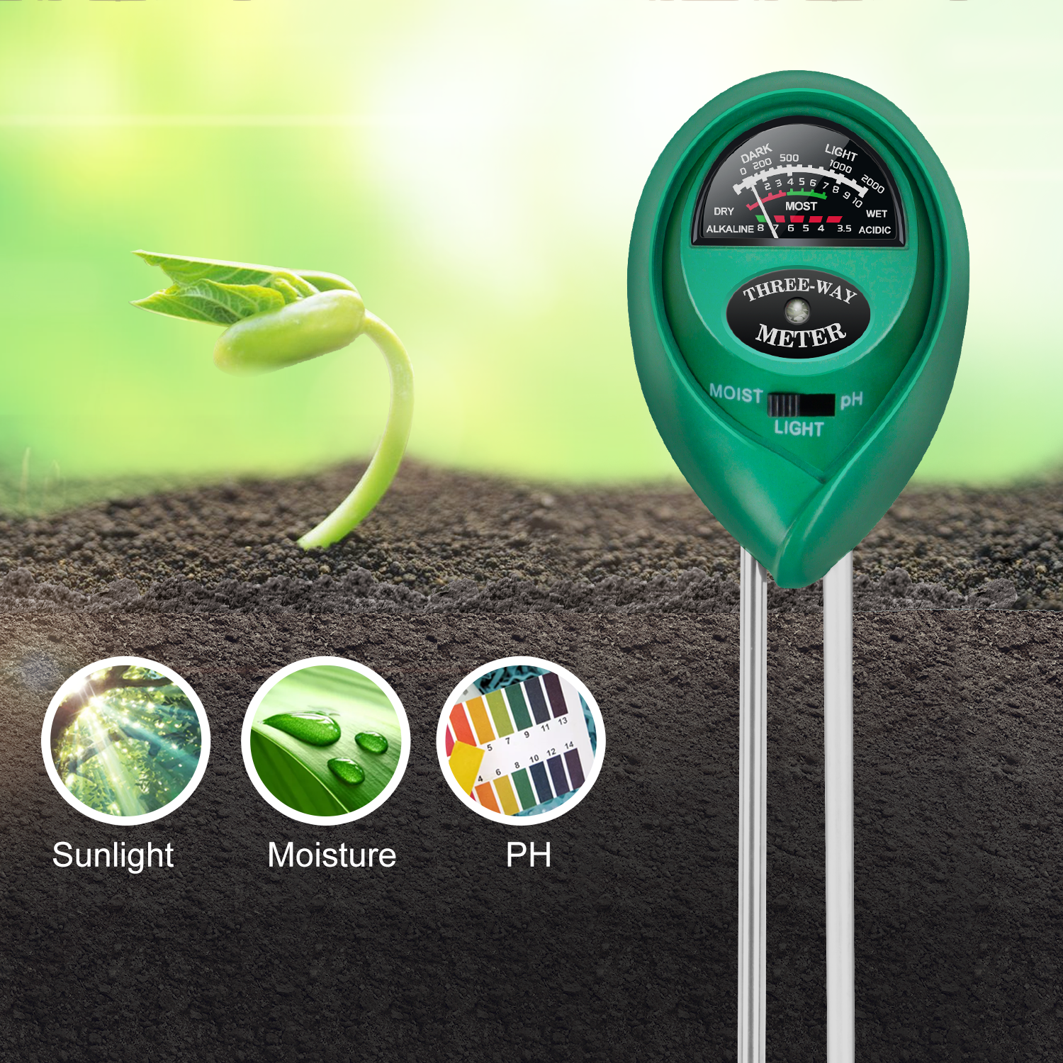 iPower Soil pH Meter, 3-in-1 Soil Test Kit for Moisture, Lig