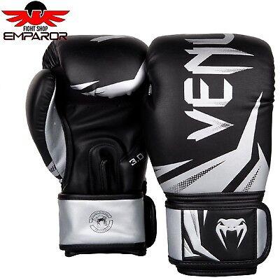 Venum Challenger 3.0 Boxhandschuhe Schwarz/Silber 10 12 14 16 oz Box