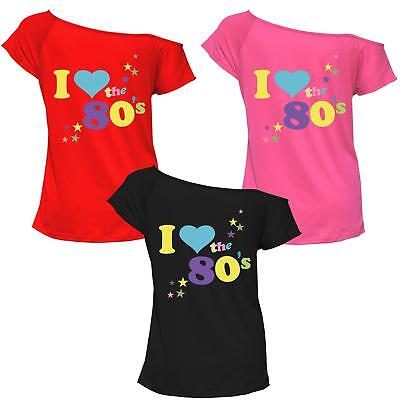 Damen Kurz Ärmel ich Liebe Die 80er Pop Start Hemd Kleid Kostüm Outfit T-Stücke ()