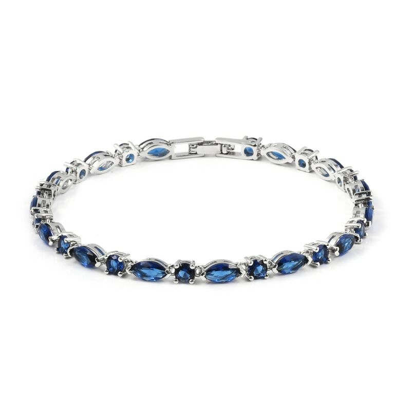 "Blue Cubic Zirconia CZ Tennis Bracelet for Women Gift Jewelry 7.5"" Ct 6.2"