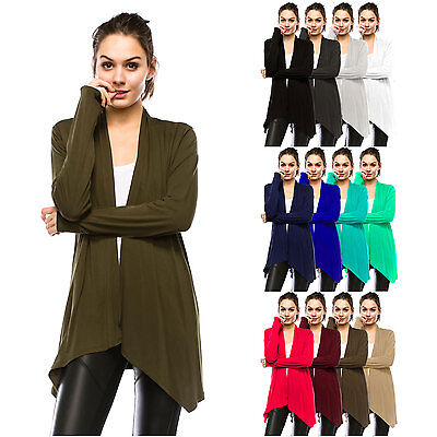 Womens Lightweight Long Sleeve Open Front Cardigan-Made in USA (S-5X) Plus size