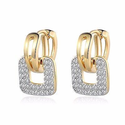 Charm 18K Gold Filled Sapphire Crystal Fashion Womens Hoop Stud Dangle Earrings