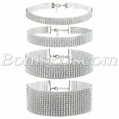 4pcs Womens Shiny Bling Full Rhinestone Choker Collar Wedding Party Necklace Set