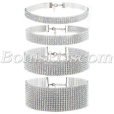 4pcs Womens Shiny Bling Full Rhinestone Choker Collar Wedding Party Necklace Set