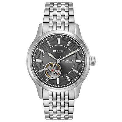 Bulova Men's Automatic Open Heart Window Gray Dial Bracelet 40mm Watch 96A190