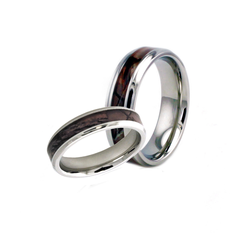 Stainless Steel Men & Women's Matching Couples Camo Wedding