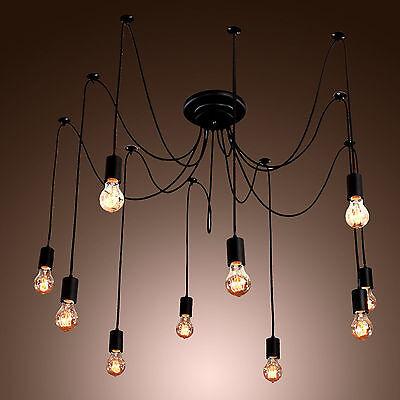 Vintage chandelier fuloon industrial vintage chandelier light 14 head ceiling pendant hanging lamp mozeypictures Choice Image