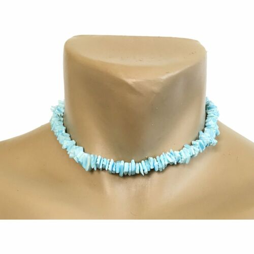 "Hawaiian Jewelry Light Blue Chip Puka Shell Surfer Choker Hawaii Necklace 16"""