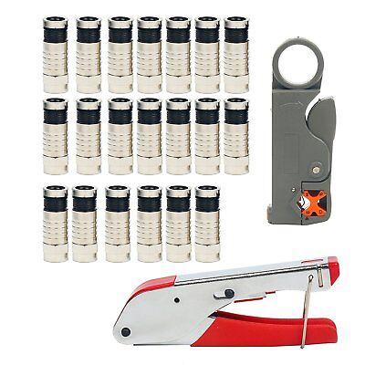 - Coaxial Compression RG Connector Stripper Tool Kit RG6 RG59 Coax Cable Crimper