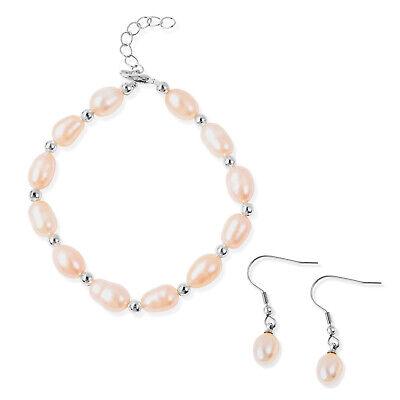 Freshwater Peach Pearl Stainless Steel Bracelet (7.00 In) and Earrings