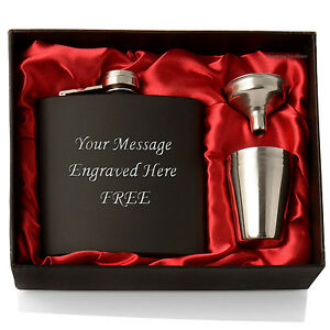 Personalised 6oz Hip Flask, Funnel and Cups Set, Luxury Gift Box, FREE Engraving