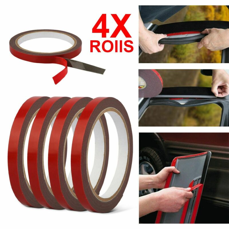 4pcs 3m X 10mm Auto Truck Car Acrylic Foam Double Sided Attachment Tape Adhesive