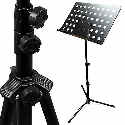 Black Music Conductor Stand Adjustable Metal Sheet Tripod Holder Folding Stage W