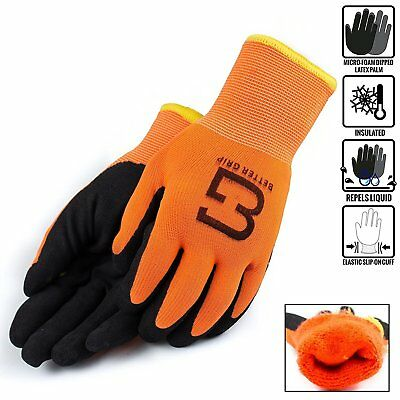 Safety Winter Insulated Double Lining Rubber Coated Work Gloves -bgwans-or