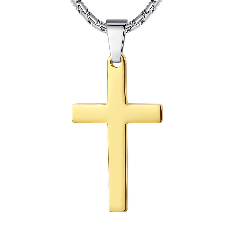 Stainless Steel Unisex Gold Color Plain Cross Pendant Necklace Chains, Necklaces & Pendants