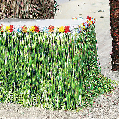 Tropical Flowered Table Skirt pool side luau DECORATIONS](Poolside Decorations)