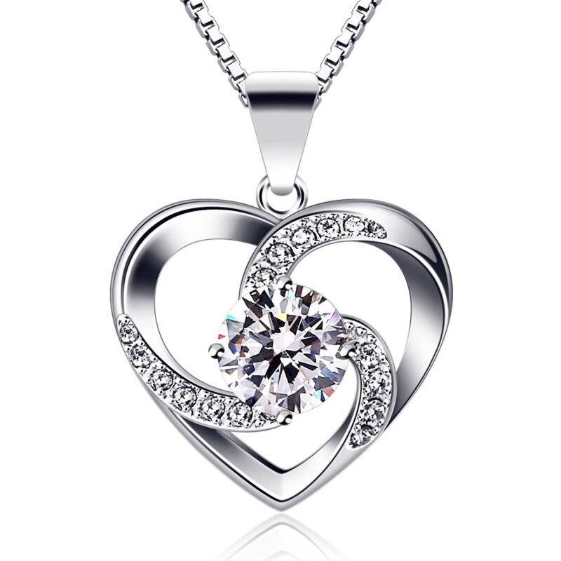 BIRTHDAY GIFTS FOR WIFE GIRLFRIEND MOM HER CUBIC HEART PENDANT NECKLACE